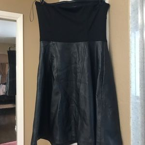 Leather strapless dress